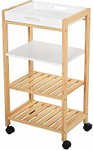 HOMCOM 4-Tier Moving Trolley Cart MDF Wood Blend