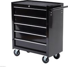HOMCOM 5 Drawer Tool Cart with Wheels and Handle