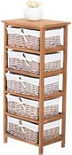 HOMCOM 5-Drawers Storage Unit, Wooden Frame
