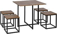 HOMCOM 5 Pcs Bar Table & Chair Dining Set Stylish