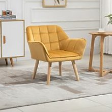 HOMCOM Armchair Accent Chair Wide Arms Slanted