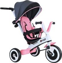 HOMCOM Baby Tricycle 4-in-1 W/Canopy, 3 Wheels-Pink