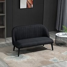 HOMCOM Channel Tufted Loveseat Compact Linen-Touch