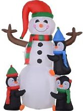 HOMCOM Christmas Inflatable Snowman and Penguins