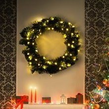 HOMCOM Christmas Wreath Decoration, 50 LED Lights