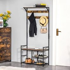 HOMCOM Coat Rack Stand Shoe Storage Bench with 9