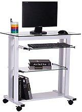 HOMCOM Computer Desk Glass Table Workstation