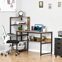 HOMCOM Computer Desk with 4 Storage Shelves