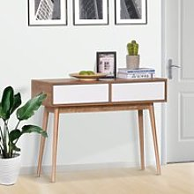 HOMCOM Console Table Sofa Side Desk with 2 Drawers