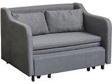 HOMCOM Cotton Blend Extending Loveseat Futon Sofa
