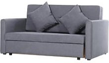 HOMCOM Cotton Upholstered Solid Wood 3-in-1