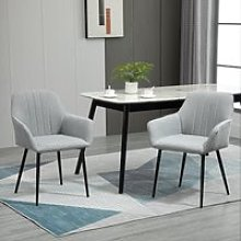 HOMCOM Dining Chairs Upholstered Linen Fabric
