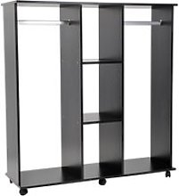 HOMCOM Double Mobile Open Wardrobe With Clothes