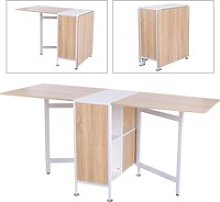 HOMCOM Drop Leaf Table with Storage