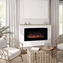 HOMCOM Electric Wall-Mounted Fireplace Heater with