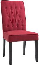 HOMCOM Elegant Tufted Dining Chair w/ Wooden Frame