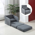 HOMCOM Faux Suede Sofa Bed Armchair Soft Floor
