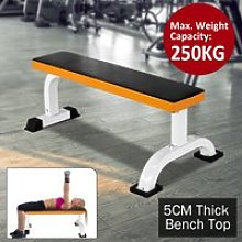 HOMCOM Fitness Flat Bench-Black/Orange
