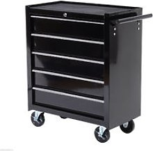 HOMCOM Five-Drawer Tool Storage Cabinet Trolley