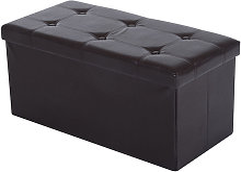 HOMCOM Folding Storage Cube Ottoman Bench Footrest Stool Box - Brown