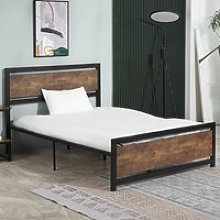 HOMCOM Full Bed Frame with Headboard & Footboard, Strong Slat Support Twin Size Metal Bed w/ Underbed Storage Space, No Box Spring Needed
