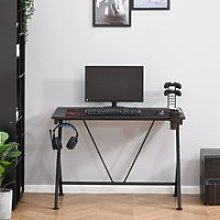 HOMCOM Gaming Desk Computer Table Metal Frame with