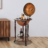 HOMCOM Globe Wine Trolley-Dark Yellow/Brown
