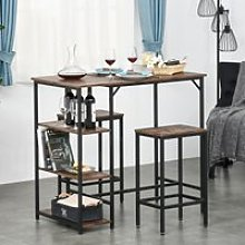HOMCOM Industrial Bar Height Dining Table Set With