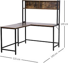 HOMCOM Industrial L-Shaped Work Desk & Storage