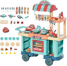 HOMCOM Kids Food Shop Cart Pretend Playset Kitchen