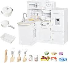 HOMCOM Kids Play Kitchen Wooden Toy Kitchen