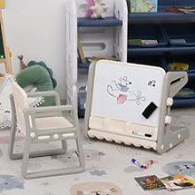 HOMCOM Kids Study Table and Chair Set 2-In-1