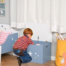 HOMCOM Kids Wooden Toy Storage Chest with Gas Stay Bar Safety Hinges Lid 55 x 34 x 35.5cm Blue