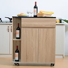 HOMCOM Kitchen Storage Trolley Cart Cupboard Rolling Island Shelves Cabinet with Door and Drawer Locking Wheels