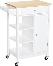 HOMCOM Kitchen Storage Trolley Unit w/ Wood Top 3