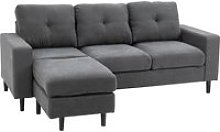 HOMCOM L-Shape 3 Seater Fabric Sofa Couch 1 Chaise