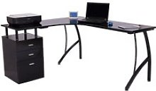 HOMCOM L-Shape Computer Desk-Black