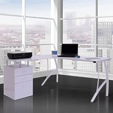 HOMCOM L-Shape Computer Desk-White