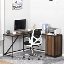 HOMCOM L-Shaped Computer Corner Desk with Cabinet,