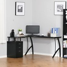 HOMCOM L-Shaped Computer Desk Table with Storage