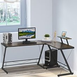 HOMCOM L Shaped Desk Round Corner Computer Gaming