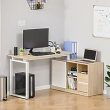 HOMCOM L-Shaped Home Office Writing Desk with