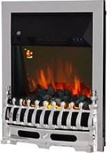 HOMCOM LED Flame Electric Fire Place-Silver