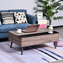 HOMCOM Lift-Top Coffee Table with Hidden Storage