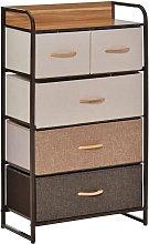 HOMCOM Linen 5-Drawer Dresser Home Bedroom Storage
