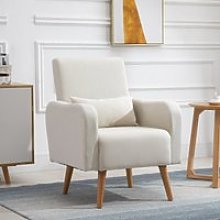 HOMCOM Linen Nordic Armchair Sofa Chair Solid Wood