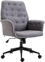 HOMCOM Linen Office Swivel Chair Mid Back Computer