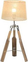 HOMCOM Linen Shade Tripod Table Lamp Beige