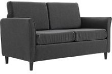 HOMCOM Linen Upholstered 2-Seater Sofa Dark Grey
