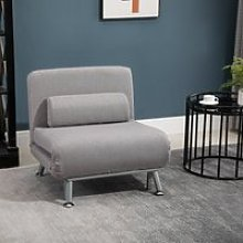 HOMCOM Linen Upholstered Elevated Single Sofa Bed